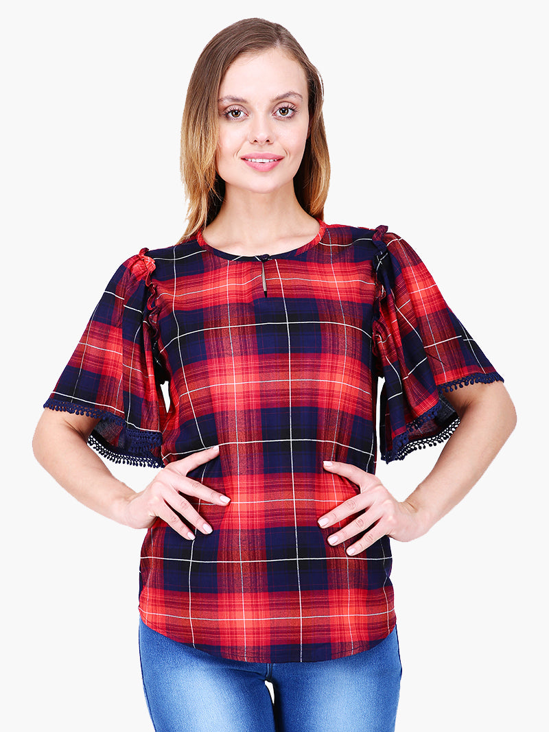 Zuwi Multi Colour Check Woman Top - MissGudi