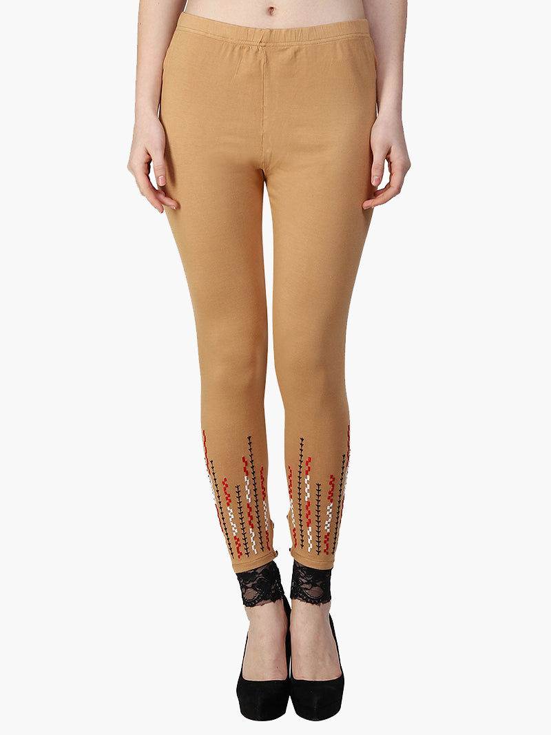Yellow Cotton Knitted Full Length Embroidered Legging - MissGudi