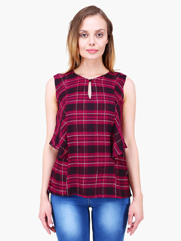 Purple Lurex Check Printed Woman Top - MissGudi