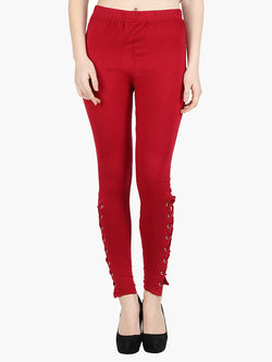 Red Cotton Knitted Full Length Legging - MissGudi