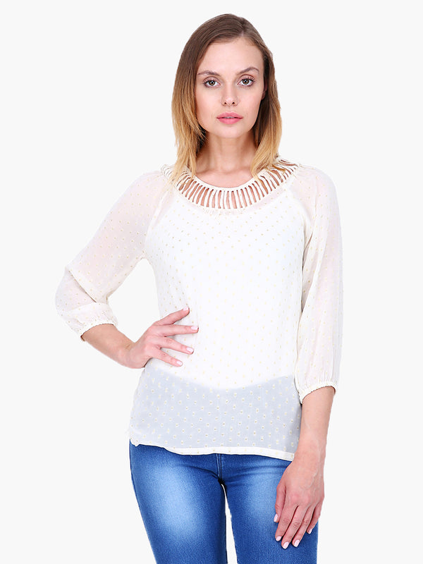 Zuwi Swiss Dot Dobby Woman Top - MissGudi