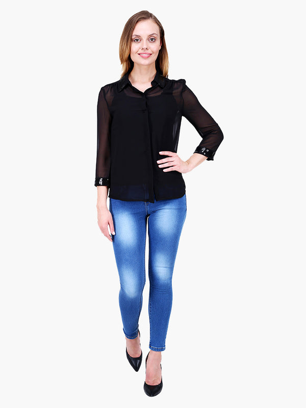 Zuwi Black Embellished Shirt - MissGudi