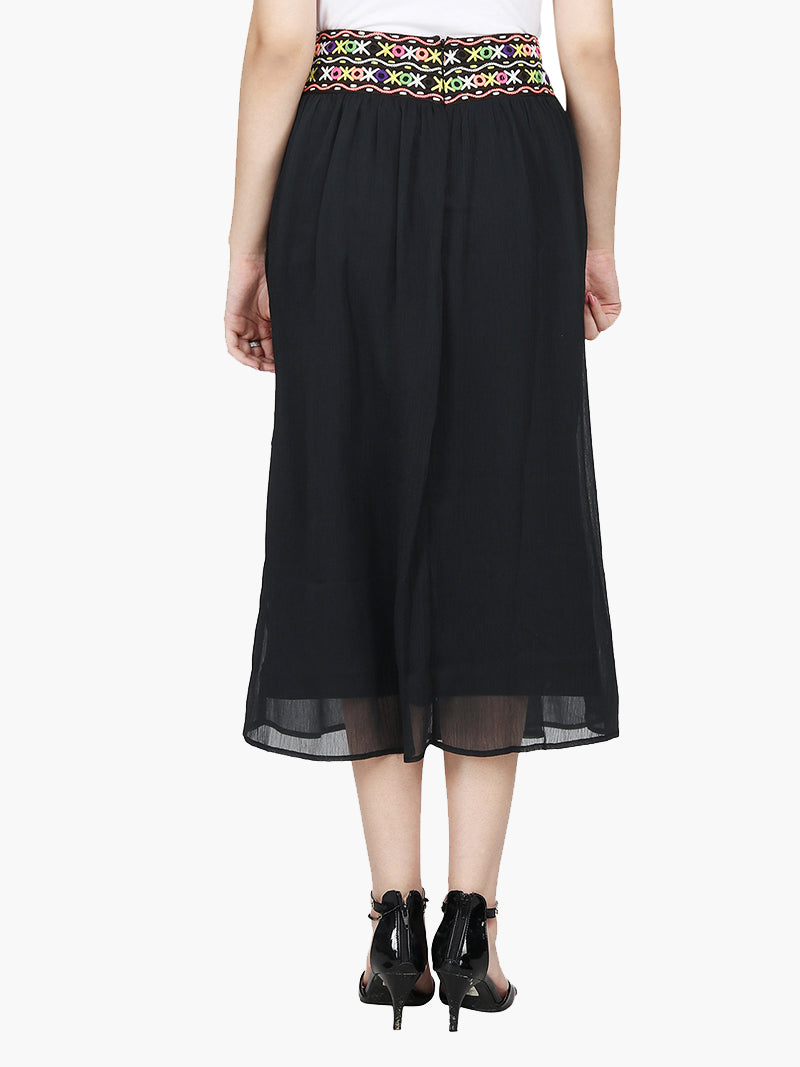Black Chiffon Embroidered Skirt - MissGudi