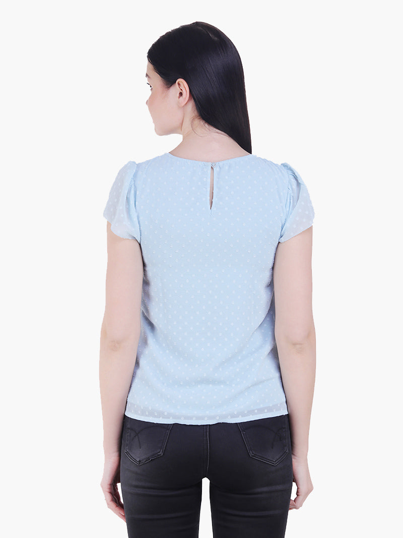 Sky Blue Poly Dobby Woman Top - MissGudi