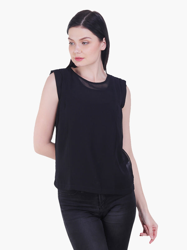 Black Poly Georgette Woman Top - MissGudi