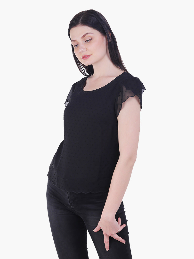 Black Poly Swiss Dot Woman Top - MissGudi