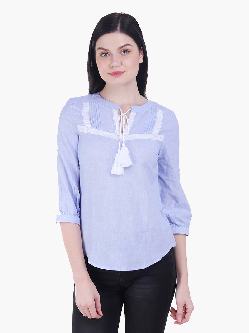 Light Blue Lace Woman Top