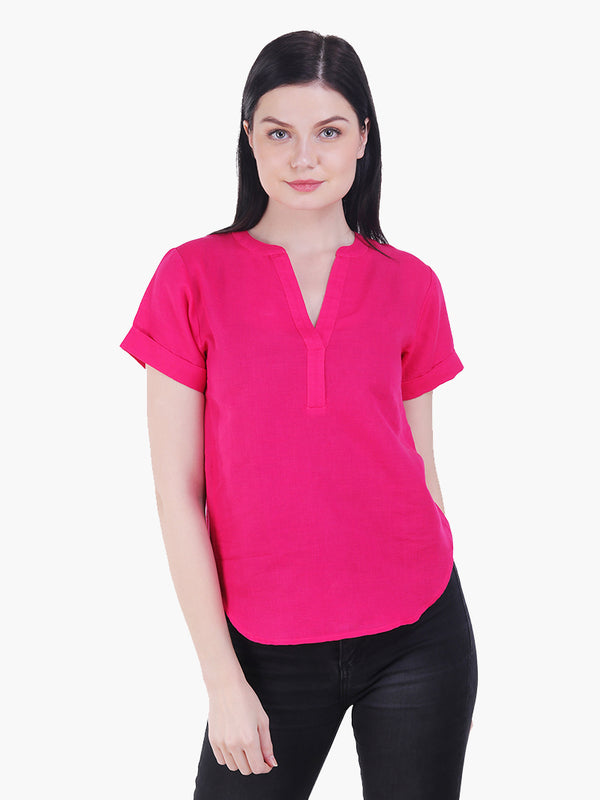 Pink Linen Cotton Woman Top - MissGudi