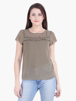 Green Poly Dobby Woman Top - MissGudi