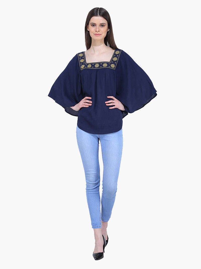 Blue Poncho Embroidered Woman Top - MissGudi