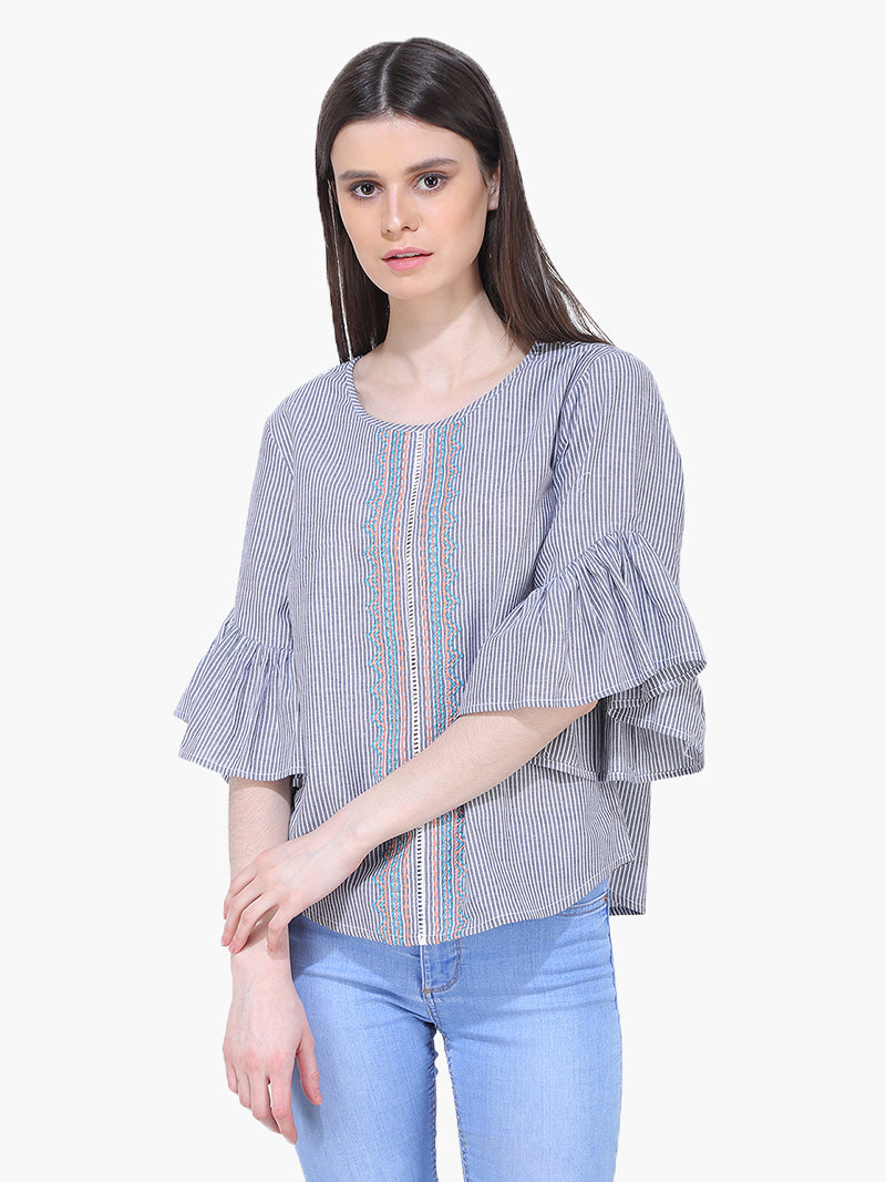 Cotton Black Stripe Woman Top - MissGudi