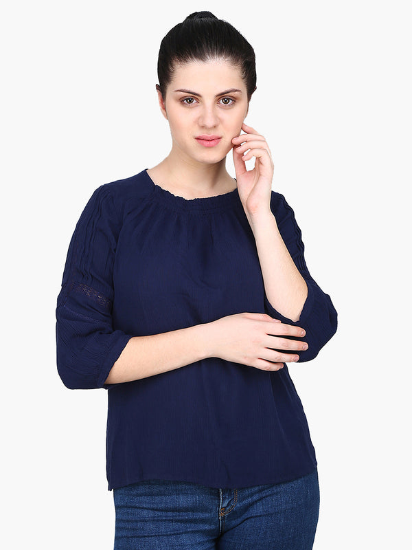 Dark Blue Viscose crepe Woman Top - MissGudi