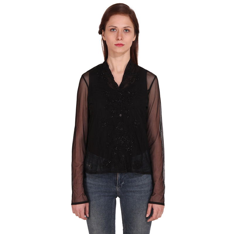 Black Full Sleeve Embellished Casual Top - MissGudi