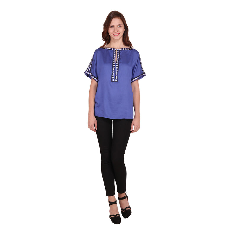 MissGudi Woman Blue Embroidered Top - MissGudi