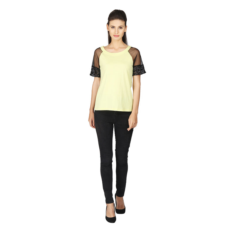 MissGudi Yellow Cotton Woman Top - MissGudi
