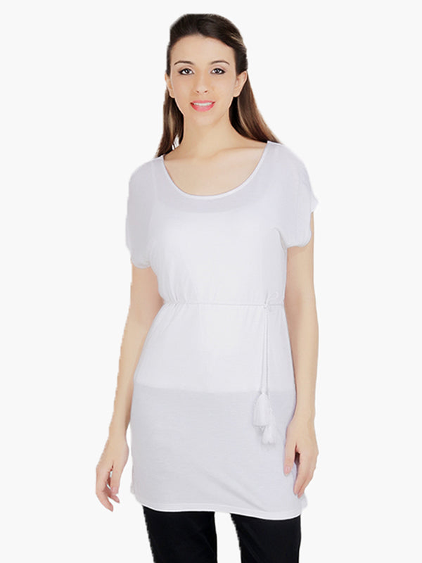 White Knitted Woman Tunic - MissGudi