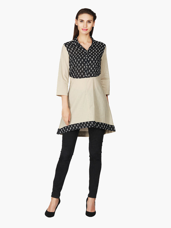 Beige Cotton Printed Yoke Women Tunic - MissGudi