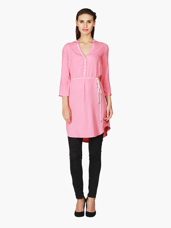 Pink Viscose Embroidered Woman Tunic - MissGudi