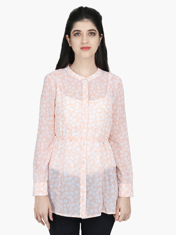 Peach Printed Georgette Woman Tunic - MissGudi