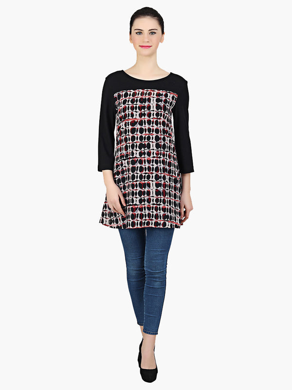 Black Printed Georgette Tunic - MissGudi