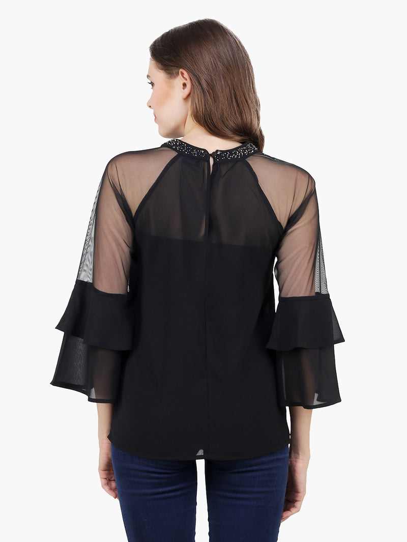 Black Georgette Embellished Woman Top - MissGudi