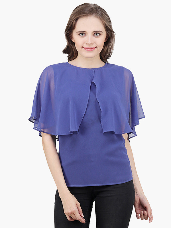 Blue Georgette Woman Top - MissGudi