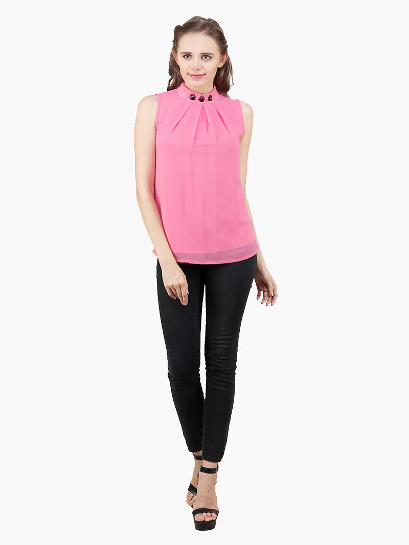 Light pink Sequinned Sleeveless Party Top - MissGudi