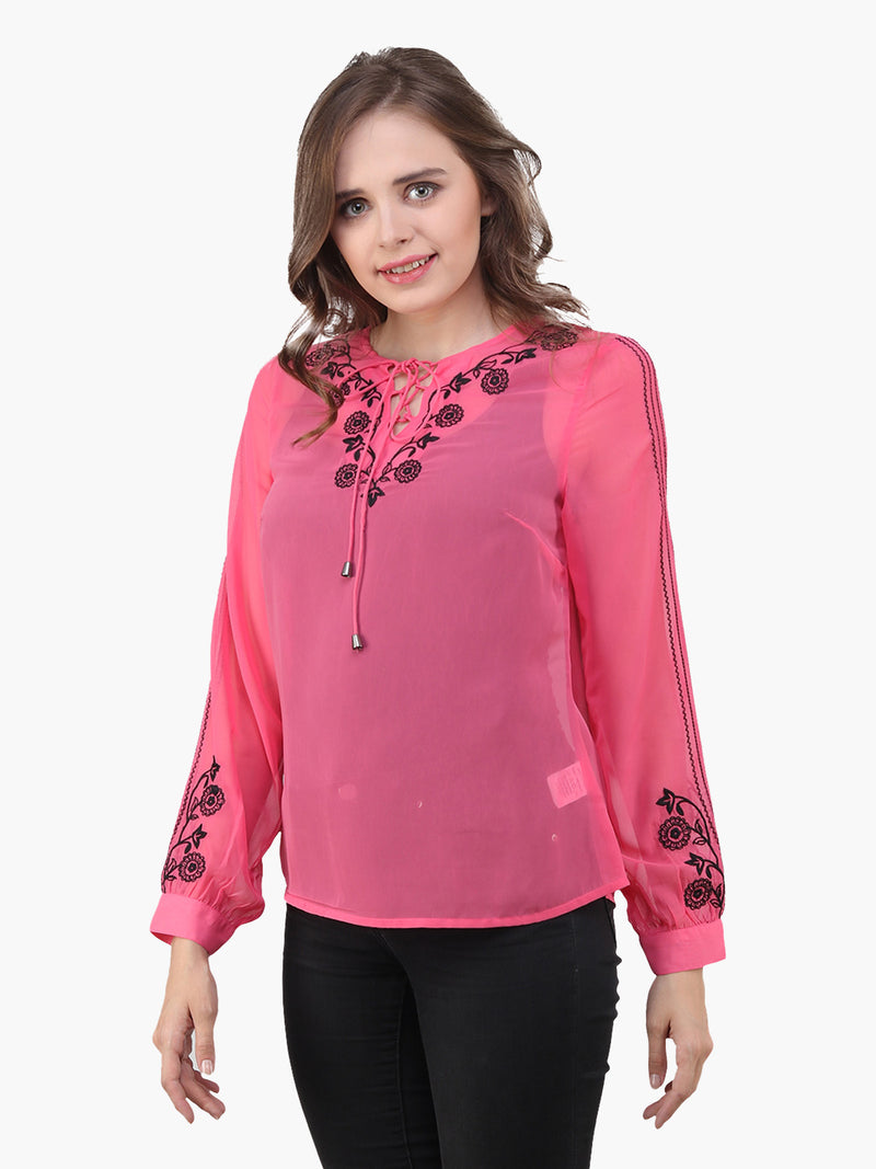 Neon pink Georgette Embroidered Woman  Party Top - MissGudi