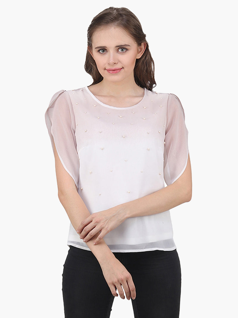 Off White Ombre Pearl Embellished Woman Top - MissGudi