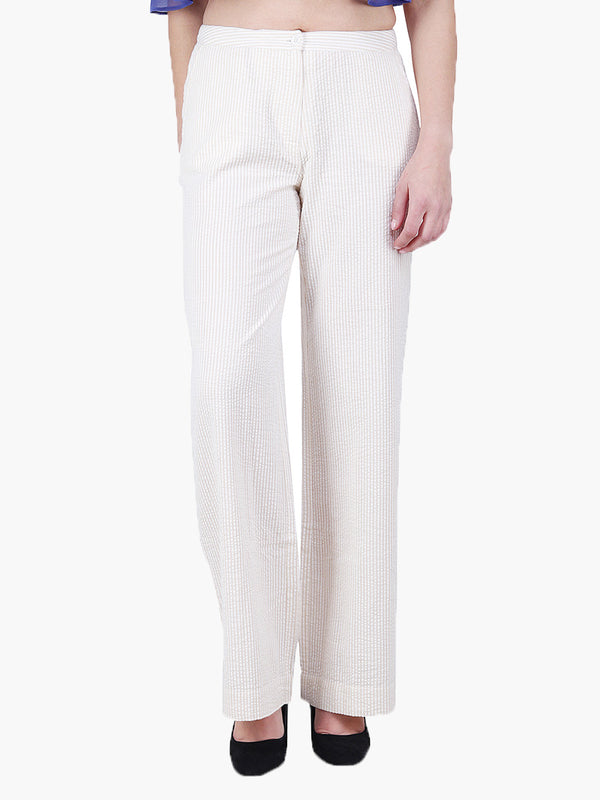 Off White Stripe Woman Pant - MissGudi