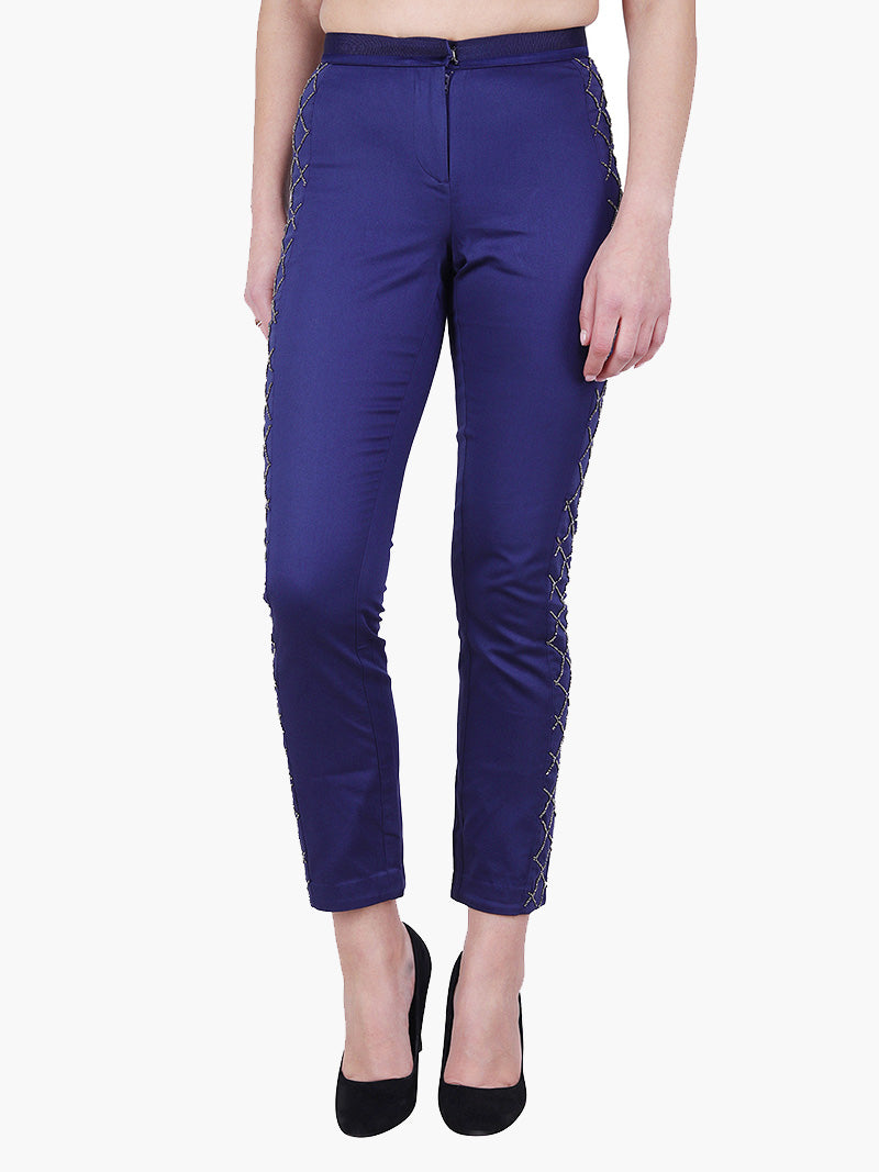 Navy Blue Embellish Woman Pant - MissGudi