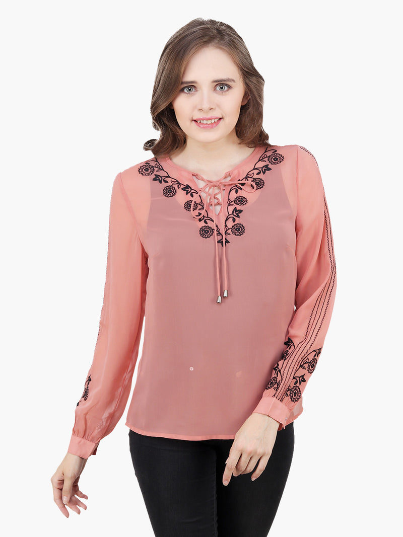 Peach Georgette Embroidered Woman  Party Top - MissGudi