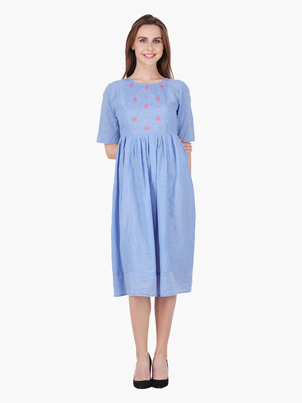 Blue Cotton Embroidered Woman Dress - MissGudi