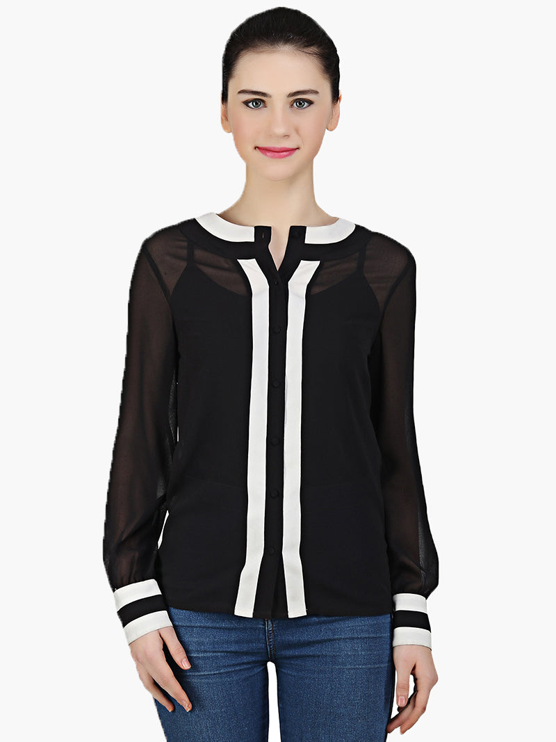 Woman Black Georgette Shirt - MissGudi