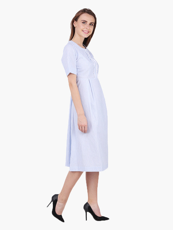 Blue Striped Woman Dress - MissGudi