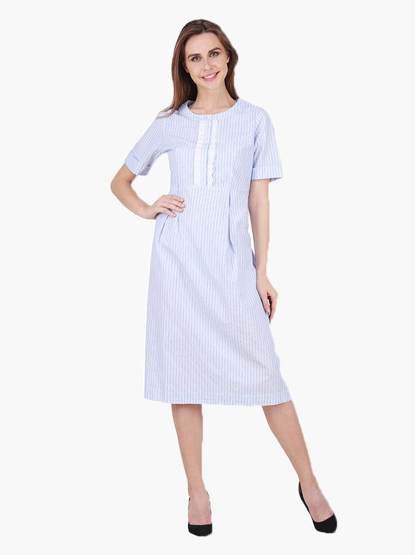 Woman Blue Striped Dress - MissGudi
