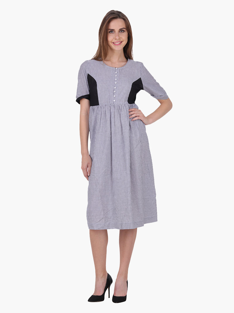 Striped Grey  Woman Dress - MissGudi
