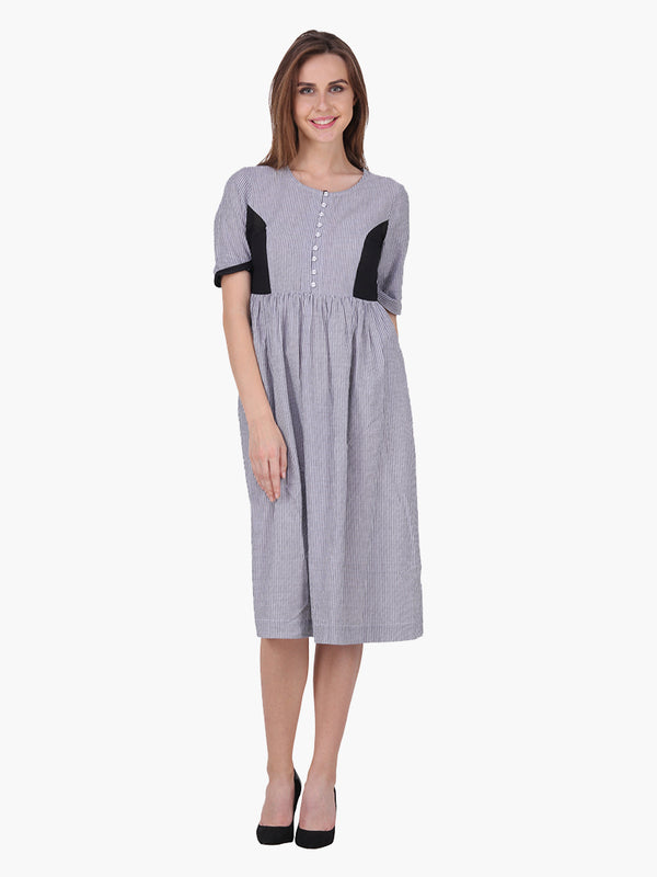Woman Striped Grey  Dress