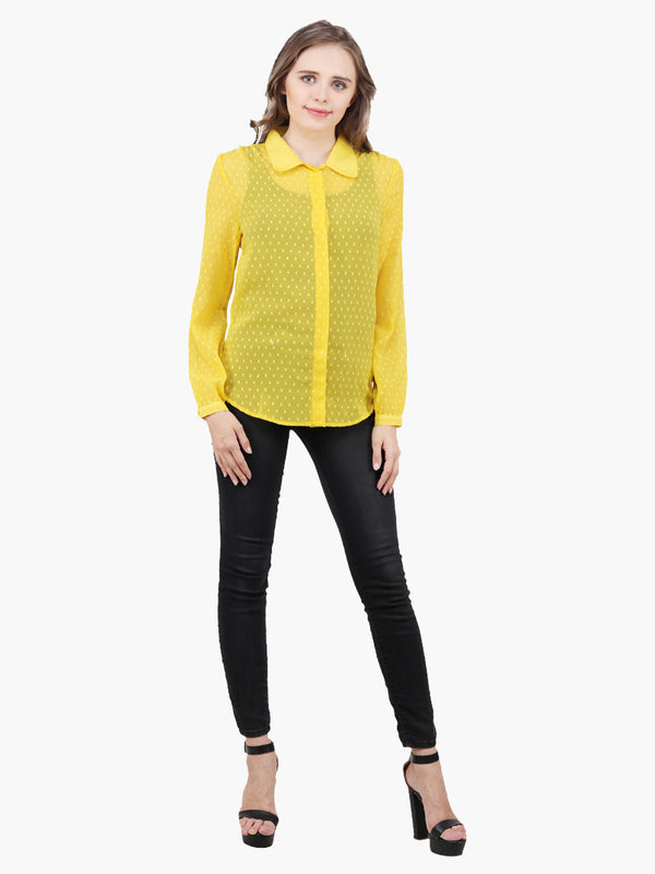 Yellow Georgette Woman Shirt