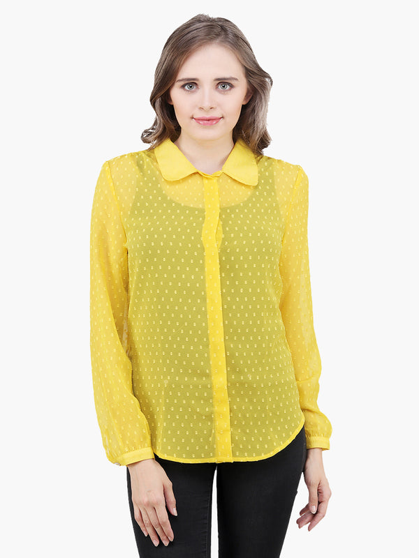 Yellow Georgette Woman Shirt - MissGudi
