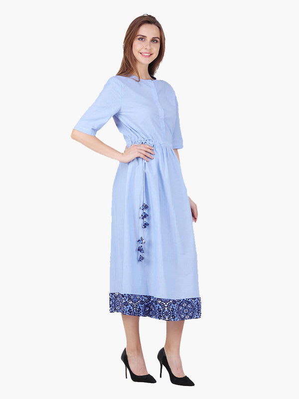 Blue Dobby Woman Dress - MissGudi