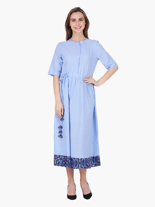 Woman Blue Dobby Dress