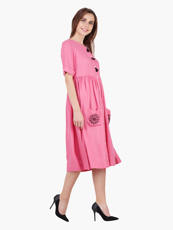 Pink Dobby Woman Woman Dress - MissGudi