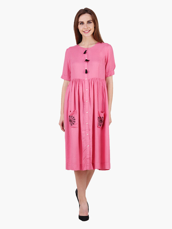 Woman Pink Dobby Woman Dress - MissGudi