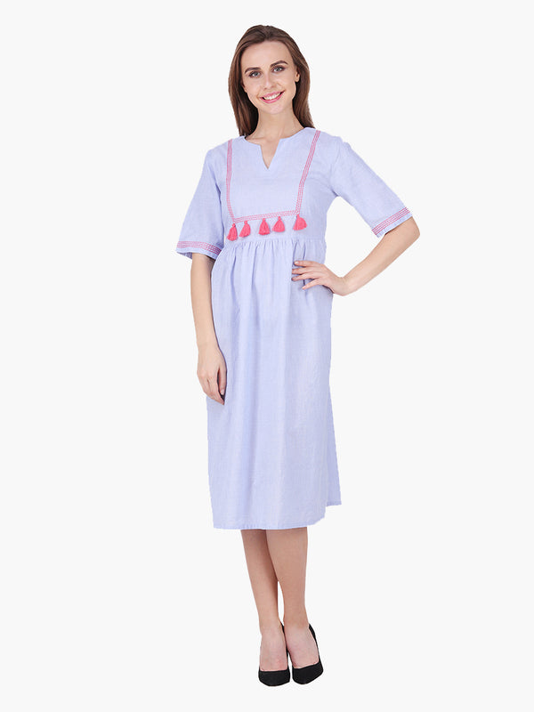 Woman Blue Cotton Embroidered Woman Dress - MissGudi
