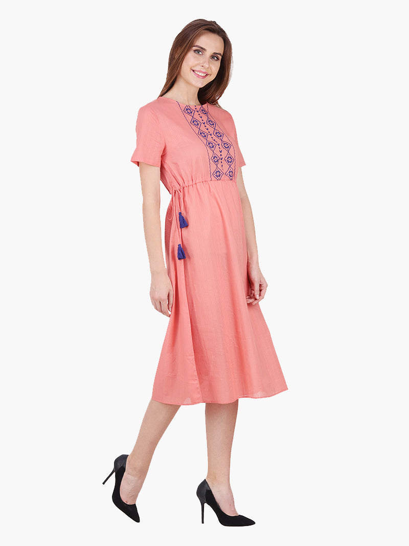 Rust Cotton Embroidered Woman Dress - MissGudi