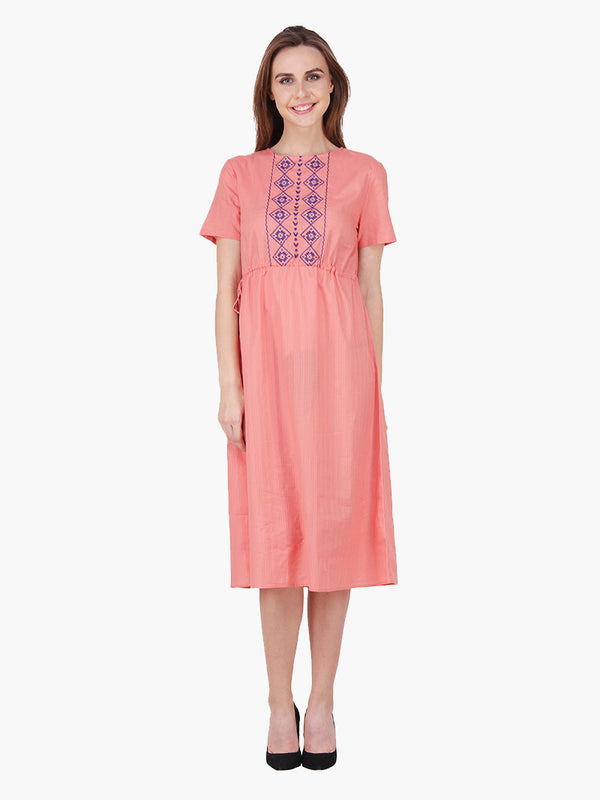 Woman Rust Cotton Embroidered Dress