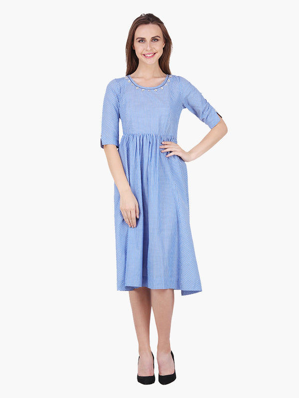 Striped Blue Cotton Women Dress - MissGudi