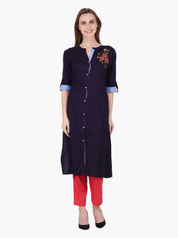 Navy Blue Embroidered Woman Dress - MissGudi
