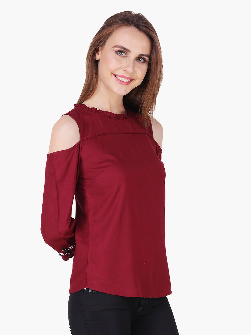 Maroon Cold Shoulder Woman Top - MissGudi
